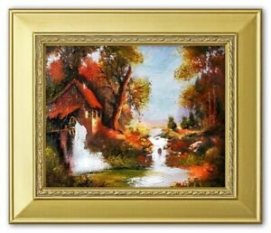 Painting-Nature-Hut-Forest-Handmade-Oil-Picture-Frame-G01312