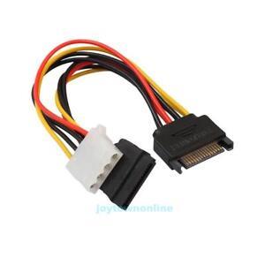 15pin-SATA-Stecker-auf-SATA-4pin-Molex-Buchse-IDE-20cm-Y-Stromkabel-Splitter