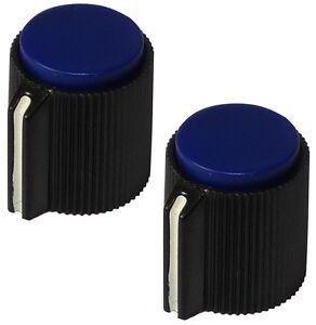 2 Boutons De Potentiomètre Pour Axe 6.35mm Ø13x15mm Noir/bleu En Plastique Rlk0tzra-07172437-170655206
