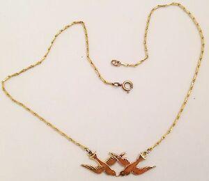 collier-vintage-couleur-or-deco-central-2-hirondelles-avec-email-chaine-epis-381