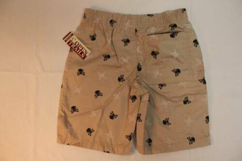NEW Boys Cotton Shorts Size 4 XS Khaki Skulls Pockets Tan Beige X-Small Nice NWT