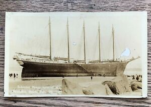 RPPC-1927-Real-Photo-Postcard-SCHOONER-NANCY-Aground-NANTASKET-BEACH-Hull-MAS