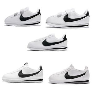 Nike-Classic-Cortez-Leather-White-Black-Family-Shoes-Mens-Womens-Kids-Pick-1
