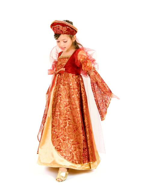Princess Anne Renaissance Costume Dress + Headband Child 3 4 5 6 7 8 9 10 11 12