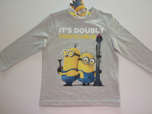 DESPICABLE ME2 It/'s Doubly Despicable Long Sleeve Grey Top NWT
