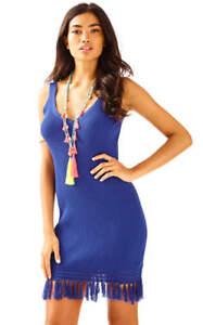 NWT-Lilly-Pulitzer-Lucera-Sweater-Dress-V-Neck-Fringe-True-Blue-Size-Large