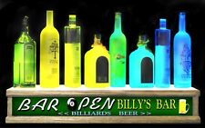24 Long Led Lighted Liquor Bottle Display With Personalized Billiards Bar Sign