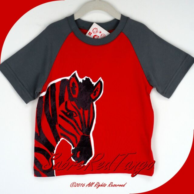 NWT HANNA ANDERSSON RAGLAN ART TEE TOP SHIRT APPLE RED ZEBRA 110 6