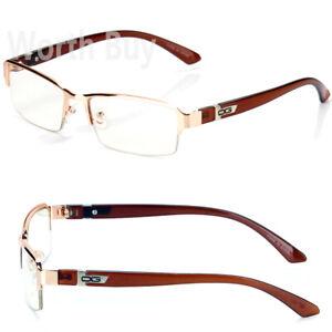 New-WB-Mens-Womens-Clear-Lens-Frame-Glasses-Designer-Fashion-Optical-RX-Half-Rim