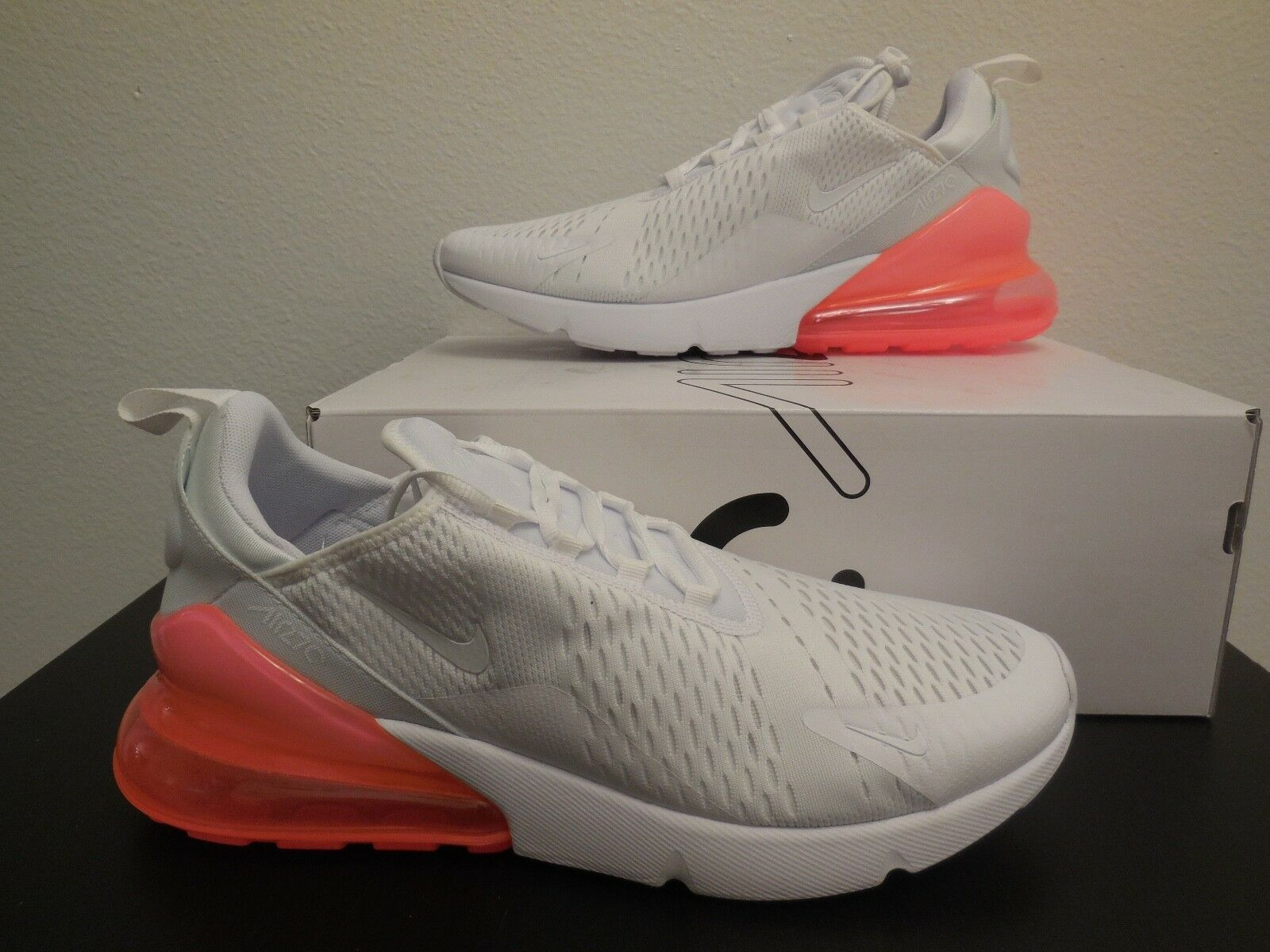 Men's Nike Air Max 270 shoes -White   Hot Punch- StyleAH8050 103 -Sz 11.5 -NEW