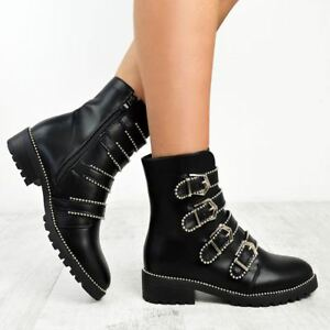 New Faux Flat Ankle Biker Boots Buckles Black Pit Silver Womens Low Punk Leather St Heel Studded WrqHxw8rCa