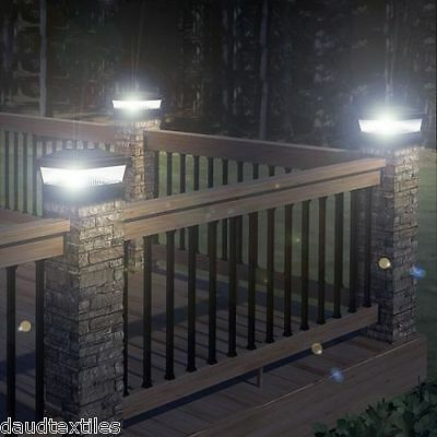OUTDOOR DECKING POST SOLAR LED POWERED LIGHT GARDEN DECK SQUARE FENCE LAMP NEW