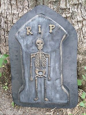 """Halloween skull Tombstone mold  concrete plaster reusable mould 15/"""" x 9/"""" x 1.5/"""""""