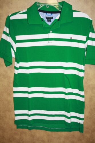 Tommy Hilfiger Boys Shirt Green White Mesh Knit Striped Cotton NEW