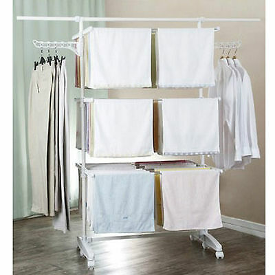 Air Dry Hanger Rack 3 Deck for Laundry Compact/Foldable/Wheels/Wings JUMBO Ver