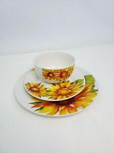 3 Royal Norfolk Sunflower Floral Ceramic Stoneware Dinner Salad Plates Bowl