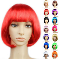 New Ladies Womens Short Bob Style Full Hair Wig Fancy Dress Party Cosplay Green