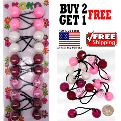 Burgundy Braid Girls Kids Scrunchie Jumbo Beads Hair Tie Ball Ponytail Holder