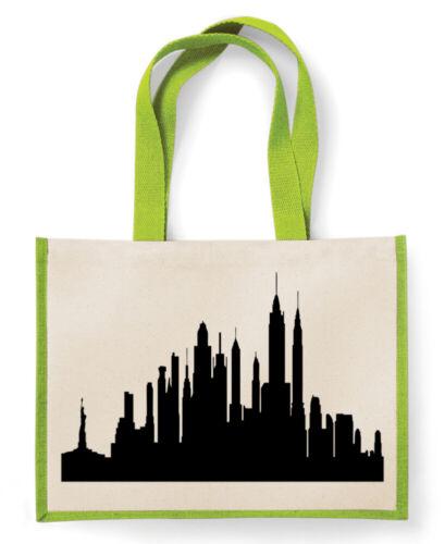 Funny Shopping Bag Canvas Tote Shopper Jute Bag For Life Ny Skyline