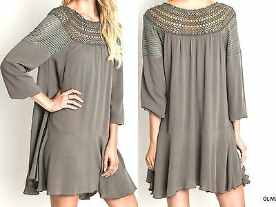 Umgee Dress Size XL S M L Lace Tunic Bishop Long Sleeve Boho Womens Boutique New