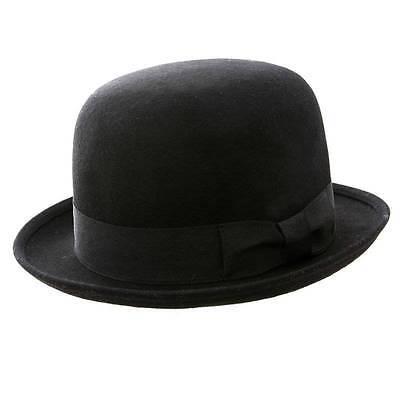 VINTAGE Style Black Felt Bowler Hat M 57cm BNWT//NEW 100/% Wool Derby Hat