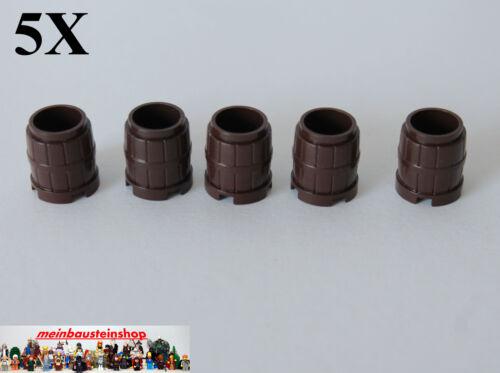 5X Lego® 2489 Fass Tonne Behälter Barrel Container Dunkelbraun Dark Brown