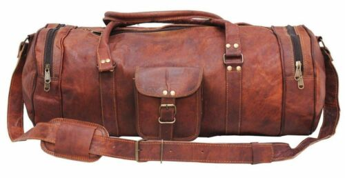 "30/"" Real Brown Leather Duffle Bag Sports Gym Bag weekend Travel AirCabin Luggage"