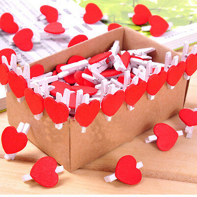 10/20/50 Pcs White Wooden Heart Mini Clip Wood Pegs Kid Craft Party Favor Supply
