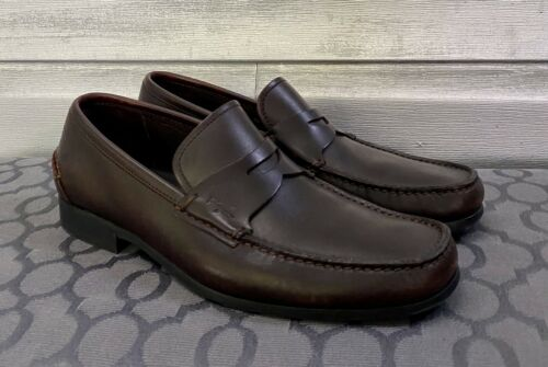 SALVATORE FERRAGAMO Brown Leather Penny Loafers