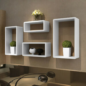 Wall Retro Storage Shelf High Gloss Unit White Floating