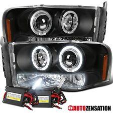 02-05 Dodge Ram 1500 Black LED Halo Projector Headlights+6000K HID Bulbs Kit