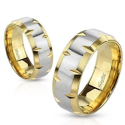 316L Stainless Steel Gold IP Beveled Edge Brushed Center Band Ring Sizes 5-14