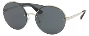 Prada-Damen-Sonnenbrille-SPR65T-1BC-5S0-silber-schwarz-verspiegelt-rund-231-54