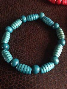 Blue Wood Bracelet Mens Ladies Turquoise Wood Barrel Bead Wooden beads - Hull, United Kingdom - Blue Wood Bracelet Mens Ladies Turquoise Wood Barrel Bead Wooden beads - Hull, United Kingdom