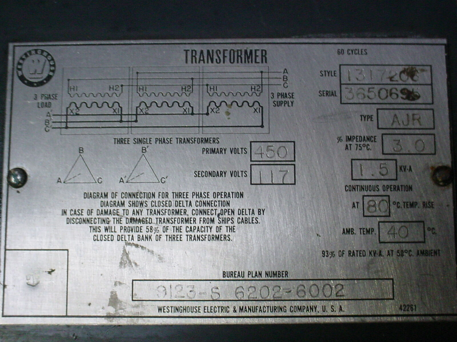Westinghouse Ajr 1317206 3 Single Phase Transformer 450 Primary Acme Open Delta Wiring Diagram Volts Ebay