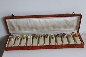 12-Portes-Couteaux-en-Ceramique-Decor-Legumes-et-Fruits-dans-leur-ecrin-Vintage