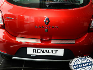 Dacia-SANDERO-2012-Rear-Bumper-Profiled-Protector-Stainless-Steel-Scuff-Cover