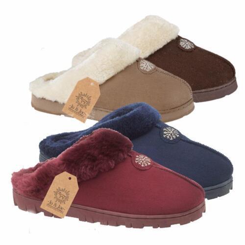 Nouveau Doublé de Fourrure Chaud Intérieur Chambre à Coucher d/'hiver pour femme Femmes Pantoufles Mules Tailles UK