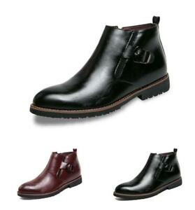 Mens-Ankle-Chelsea-Boot-Leather-Buckle-Pointy-Toe-Dres-Business-Casual-Shoes-Zip