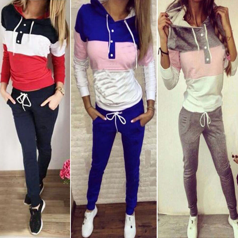 Women's 2Pcs Tracksuit Hoodies Sweatshirt Pants Sets Sports