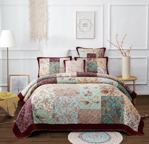 Coverlet Modern Patchwork Bedspread 100/% Cotton No Polyester Queen Burgundy 3PCE