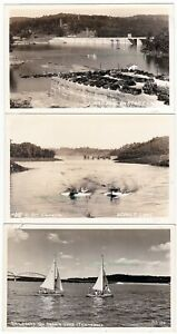 3-NORRIS-LAKE-Tennessee-c1940-Photo-POSTCARDS-Dam-SAILBOATS