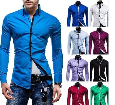 Mens Shirts Casual Double Collar Slim Fit Button Down Long Sleeve Shirt DC12