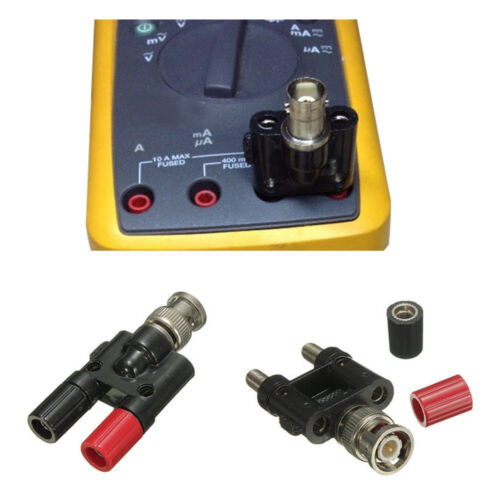 BNC Male Plug to Two Dual 4mm Banana Jack Binding Coaxial Adapter new