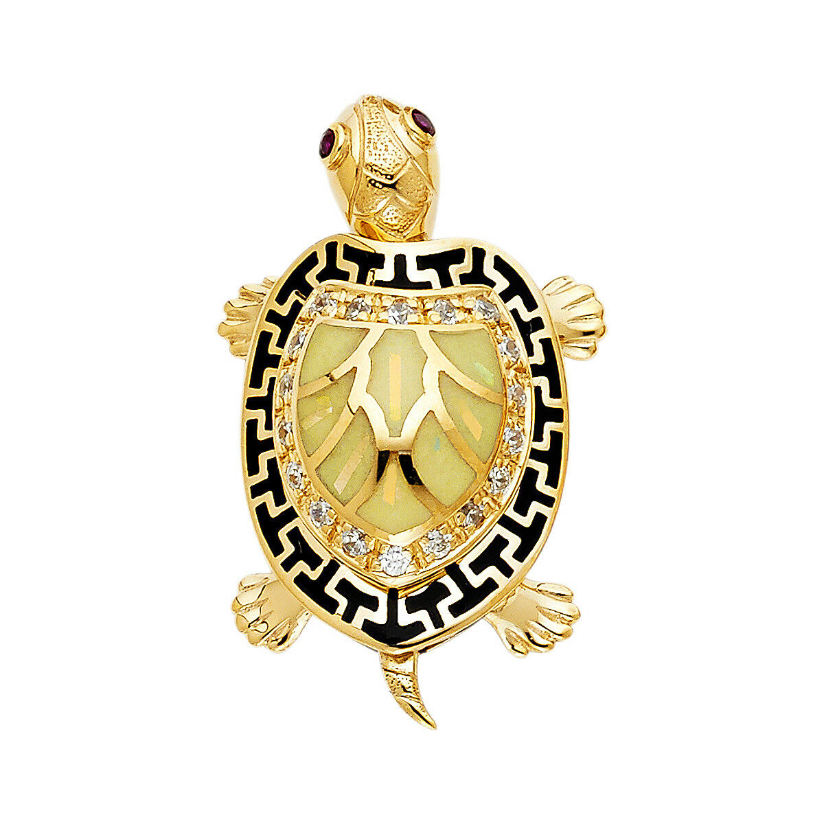 14K Real Yellow gold Turtle Pendant For men Women Yellow Turtle Pendant
