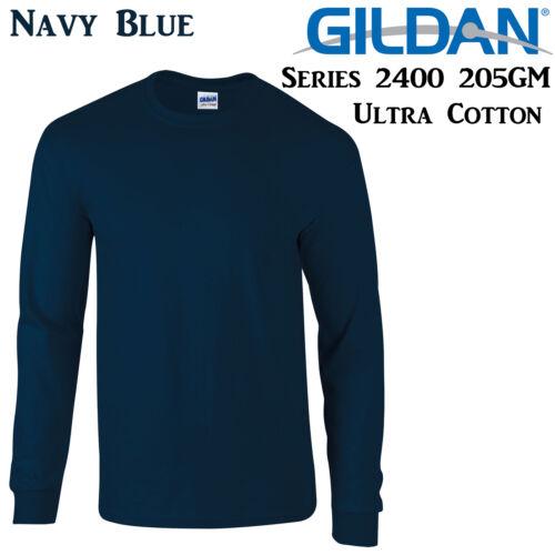 Gildan Long Sleeve T-SHIRT Navy Blue blank plain tee S-3XL Men/'s Ultra Cotton