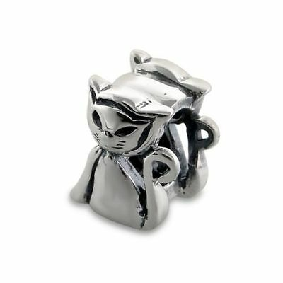 925 Oxidised Sterling Silver Charm - Siamese Cat Charm - 8 x 9 mm - Boxed
