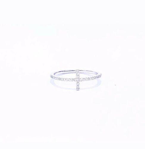 Diamond Cross anneau 14K or Blanc Véritable White Diamond Sideways Cross .25 Ct