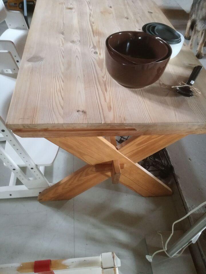 Spisebord, Massivt fyrtræ, b: 80 l: 125