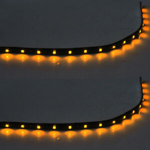 2-X-15-LED-30cm-SMD-Car-Vehicle-Flexible-Waterproof-Strip-Light-Yellow-12V-Sales